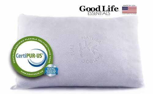 Shredded Memory Foam Pillow with Stay Cool Bamboo Cover - Best for Back, Stomach and perfect for Side Sleepers, made by Good Life Essentials