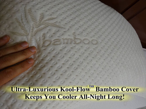 snuggle pedic pillow has ultra luxurious kooll-flow bamboo cover keep you cooler all-night long