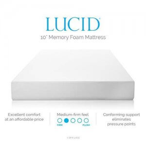 LUCID 10 Inch Memory Foam Mattress - Dual-Layered - CertiPUR-US Certified - 25-Year Warranty